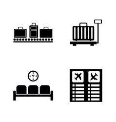 airport terminal simple related icons vector image