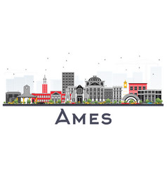 Ames iowa skyline with color buildings isolated vector
