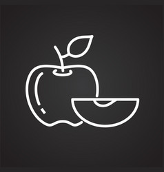 apple line icon on black background for graphic vector image