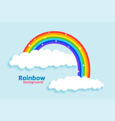 arched rainbow with clouds background vector image