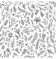 black herbs seamless pattern vector image