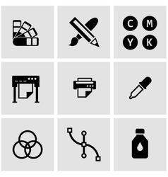 Black polygraphy icon set vector