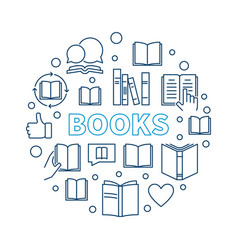 books round outline education vector image