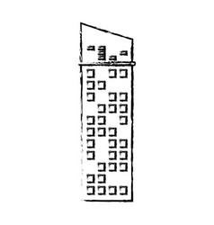 Building facade icon sketch vector