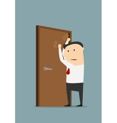Businessman knocking on a closed door vector