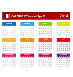 Calendar 2014 French Type 10 vector image vector image