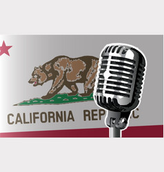 California flag and microphone vector
