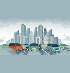 Cars air pollution polluted air environment at vector