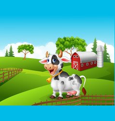 Cartoon funny cow in the farm landscape background vector