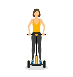 Cartoon Girl on Segway Transport vector