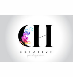 Ch vibrant creative leter logo design with vector