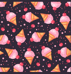 cherry ice cream cone dark seamless pattern vector image