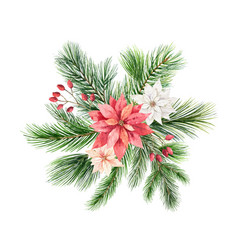 Christmas arrangement with green fir vector