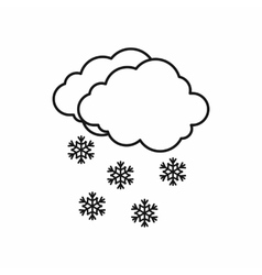 Cloud and snowflakes icon outline style vector image