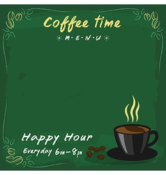 Coffee menu green chalkboard vector image