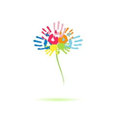 Colorful flower of the handprints vector