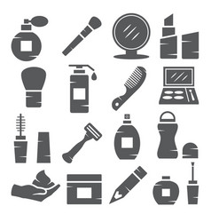 cosmetics icons on white background vector image