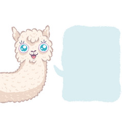 Cute alpaca with bubble vector