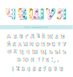 cyrillic mermaid scale colorful font cute vector image