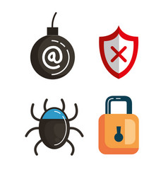 Data center security icons vector