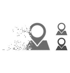 Disintegrating pixel halftone map pointer icon vector