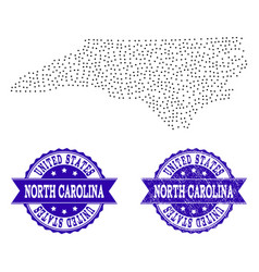 Dotted map of north carolina state and textured vector