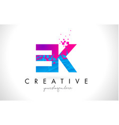 ek e k letter logo with shattered broken blue vector image