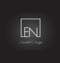 En square frame letter logo design with black and vector