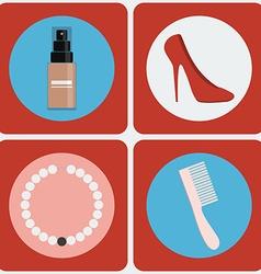 Feminine beauty colorful icon set vector