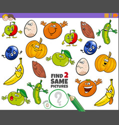 Find two same characters educational game vector