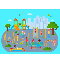 Flat Childrens Playground Composition vector image