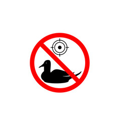 Forbidden hunting duck icon on white background vector