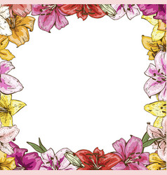 Frame of flowers beautiful frame of colorful vector