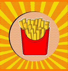 french fries in red paper box pop art fast food vector image