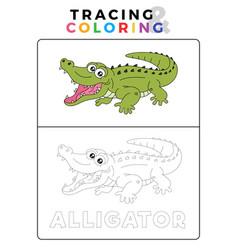 Funny alligator crocodile animal tracing and vector