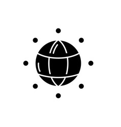 global connections black icon sign on vector image
