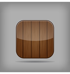 glossy wooden app button vector image