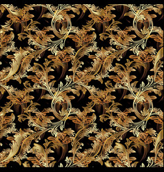 Gold baroque seamless pattern floral vintage vector