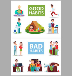 Good and bad habits poster vector