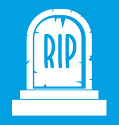 Gravestone with rip text icon white vector