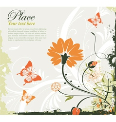 Grunge floral frame with butterflies vector