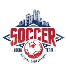 Grunge soccer emblem vector