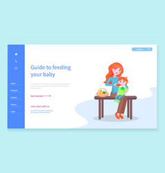 Guide to feed your baby mom and child website vector