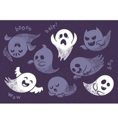 Halloween ghosts set vector