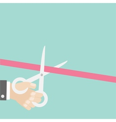 Hand scissors cut the straight ribbon left opening vector