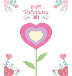 Happy valentines day cute flower shaped hearts vector