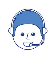 happy young boy avatar wearing headset vector image