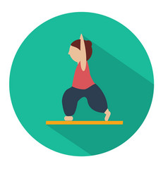 human doing yoga warrior pose icon vector image