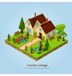 Isometric Country Cottage Landscape Design Concept vector