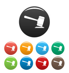 judge gavel icons set color vector image